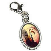 Graphics and More Dragon Flying Fire Breathing - Castle Fantasy Antiqued Bracelet Pendant Zipper Pull Oval Charm with Lobster Clasp