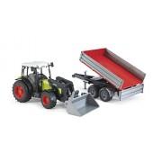 Bruder - 2112 - Véhicule Miniature - Tracteur vert Claas Nectis 267F avec remorque rouge