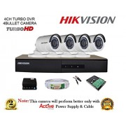 Hikvision DS-7204HGHI-F1 720P (1MP) 4CH DVR + Hikvision DS-2CE16COT-IR Bullet Camera 4Pcs + 1TB HDD + Active Copper Cable + Active Power Supply Full Combo Kit.
