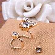 rosegal 2PCS Rhinestone Bowknot Earrings Set