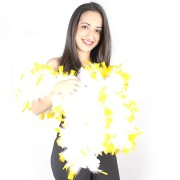 Estola Branca De Pontas Amarelas