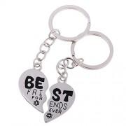 Segolike 2 Pieces/ Set Charms Best Bitches Keychain Best Friend KeyRing BFF Split Heart Key Ring Best Friend Forever Love Jewelry - best friends forever