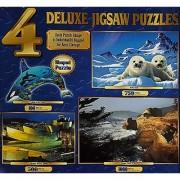 Sure-Lox (4) Deluxe Jigsaw Puzzles 40715-1: Orca-Shaped Puzzle King of the Ocean 100 Pieces; Baby Seals 750 Pieces; Vizcaya Bilbao Spain 500 Pieces; Oregon Coast USA 1000 Pieces
