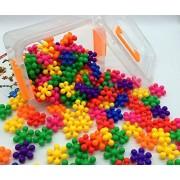 Z-COLOR 100 Pcs 8 Colors-Mix Safe Non-Toxic Material Interlocking Plastic Brain Flakes Colorful Mighty Molecules Solid PE Plastic Building Sets