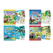 "Childrens Sticker Activity Books Pack Of 4 Books 8.25"" X 11.5"" Each Containing Over 70 Reusable Stickers Farm Animal Stickers, Ocean Life, Insects, Lions, Horse Stickers, Farm Animals"