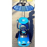 Blue Kid Ride On 3 In 1 Push Car with Canopy Toddler Wagon W Handle Horn Outdoor Stroller &Easy Wheel &electronic