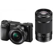 Sony ILCE-6000YB Appareil Photo Numérique Hybride, Capteur APS-C, 24,3 Mpix, Autofocus Ultra-Rapide, Viseur Intégré - Noir + Objectif 16-50 mm Rétractable + Objectif 55-210 mm