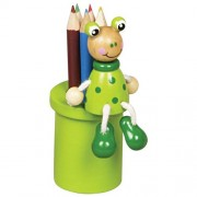 Fa ceruzatartó 5 db színesceruzával, békás