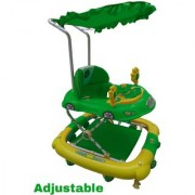 Oh Baby Baby Car Shape Adjustable Walker 9 in 1 Function With Musical Light Green Color Walker For Your Kids SE-W-70