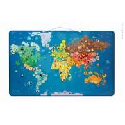 JANOD 02889 Harta magnetică a lumii ANIMALS MAGNETIC WORLD MAP cu 201 animăluţe magnetice de la 5-12 ani