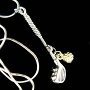 Swarovski Crystal Golf Club Gold Golf Ball Set Pendant Necklace