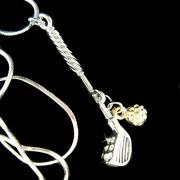 Swarovski Crystal Golf Club Gold Golf Ball Set Pendant Necklace