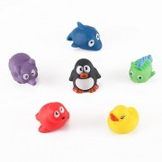 Kinder Toys Network Animal Bath Squirt Toy Set (cute Animals, Set Of 6) - Penguin, Elephant, Dolphin, Tropical Fish, Seal, Duckie By Kinder Toys