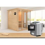 KARIBU Sauna Massivholzsauna Paavo mit Dachkranz inkl. 9 kW Bio-Kombiofen ext. Steuerung