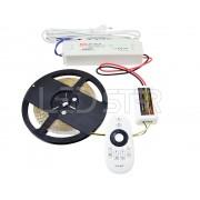 Ledstar kompletná sada Dual White 24V, LED pásik 5m SMD 3528 60LEDm 9,6Wm, IP20 zdroj MW 60W ovládač