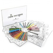 Crayola Color Escapes Coloring Pages & Pencil Kit Garden Edition 12 Premium Pages by renowned artist Claudia Nice 12 Watercolor Pencils 50 Colored Pencils Adult Coloring Art Activity Set