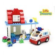 The DIY Build A Hospital 56 Piece Building Brick Box Set - Compatible to Duplo Parts & Tight Fit
