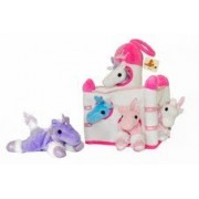 Plush Unicorn Castle with Animals - Five (5) Stuffed Animal Unicorns in Play Carrying Castle Case