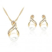 Ecloud Shop® Charming Gold Plated Crystal Bridal Necklace Stud Earrings Kit White