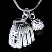 Swarovski Crystal Baseball Glove Ball Team Sports Charm Chain Necklace