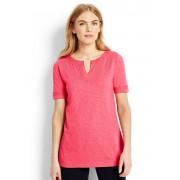 ランズエンド LANDS' END レディース・スラブジャージー・ノッチネック・チュニック/半袖(カメオブラッシュ)