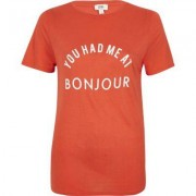 River Island Womens Red 'Bonjour' print fitted T-shirt