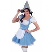Blauw geblokte Oktoberfest jurk voor dames