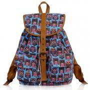 Batoh LS00269C - Blue Owl Print Rucksack Bag - Canvas