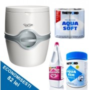 PACHET EXCELLENCE B: Toaleta PORTA POTTI EXCELLENCE electric + saculeti dizolvare deseuri + solutie igienizare + hartie