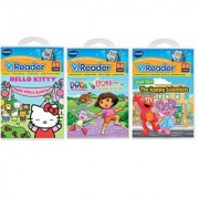 VTech - VReader Learning Toys - 3 Game Value Pack Bundle: Hello Kitty Dora the Explorer & Happy Scientists Elmo and Abb