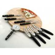 TAGLIERE SET PIZZA 10 PZ 4 COLTELLI 1 ROTELLA 4 FORCHETTE