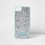 River Island Womens Silver glitter phone case