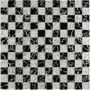 Maxwhite JSM-JL041Y Mozaika skleněná šachovnice bílá černá 29,7x29,7cm