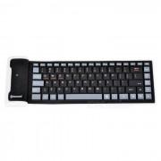 KB-6113 Teclado plegable flexible Bluetooth de silicona - Negro + Blanco