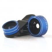 Quazar mobil lencse 3x makró - széles látószögű - halszem lencse szett okos telefonokhoz, kék
