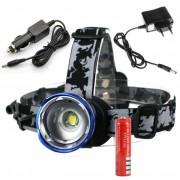 Čelovka CREE XM-L T6 LED Zoom, nabíjačka aj do auta a 2 batérie