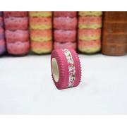 AsianHobbyCrafts Printed satin Fabric Ribbons, Dark Pink, 5 m