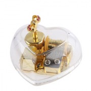Magideal Acrylic Heart Bowknot Clockwork Music Box Melody Box Kids Gift Swan Lake