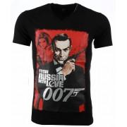 Mascherano T-shirt - James Bond From Russia 007 Print - Zwart