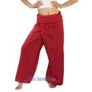 Thai Fisherman Pants Red Yoga Wrap Trousers Unisex Pinstripe