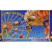 Puzzlebug Colorful Vintage Merry-go-Round and Ferris Wheel 500 Piece Bright and Colorful Puzzle Fully Interlocking Pieces for Age 8+ by Puzzlebug