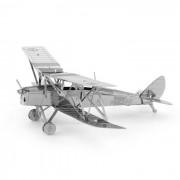 rompecabezas de DIY 3D modelo biplano montado juguete educativo - plata