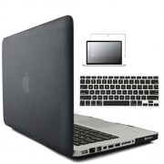 """Go Crazzy MacBook Pro 13.3"""" Case. Laptop Frosted Matte Rubberized Hard Cover Case Skin+Silicon Keyboard Cover+Clear LCD Screen Protector +9 pcs Dust plug + Touchpad Protector For Apple MacBook Pro 13.3 inch-(BLACK)"""