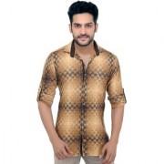 Goplay Khaki Brushing Cotton Apple Cut Shirt For Men