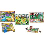 Melissa And Doug Chunky Puzzle Bundle Set / 1 Safari Animals 1 Pets And 1 Farm Animals
