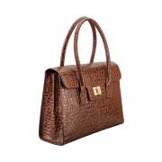 Damen Mock Croc Leder Aktentasche in Dunkelbraun - Dokumententasche, Aktenkoffer, Businesstasche, Laptoptasche