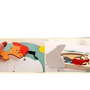 Magideal Wooden Multilayer Jigsaw Cartoon Educational Toy For Kid Polar Bear