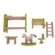 Segolike Wooden Dollhouse Miniature Accessories Green Nursery Room Furniture Set Kids Toys