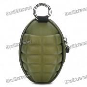 Novedad Grenade creativa en forma de cremallera Key Coin Purse Bag Funda - ejercito verde