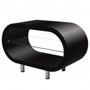 High Gloss Black Coffee Table/TV Stand Oval